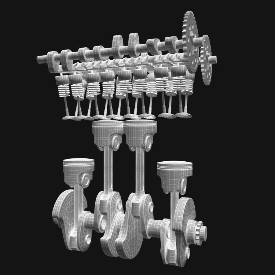 Auto engine royalty-free 3d model - Preview no. 9