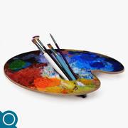 Brush & Palette 3d model