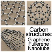 Carbon structures: Graphene, Fullerene, Nanotube. 3d model