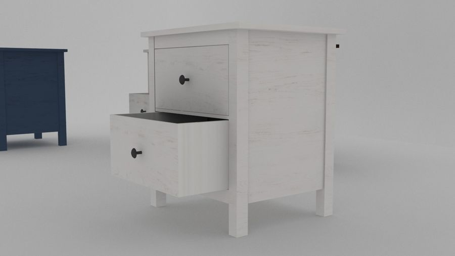 IKEA HEMNES 2 drawer chest royalty-free 3d model - Preview no. 2