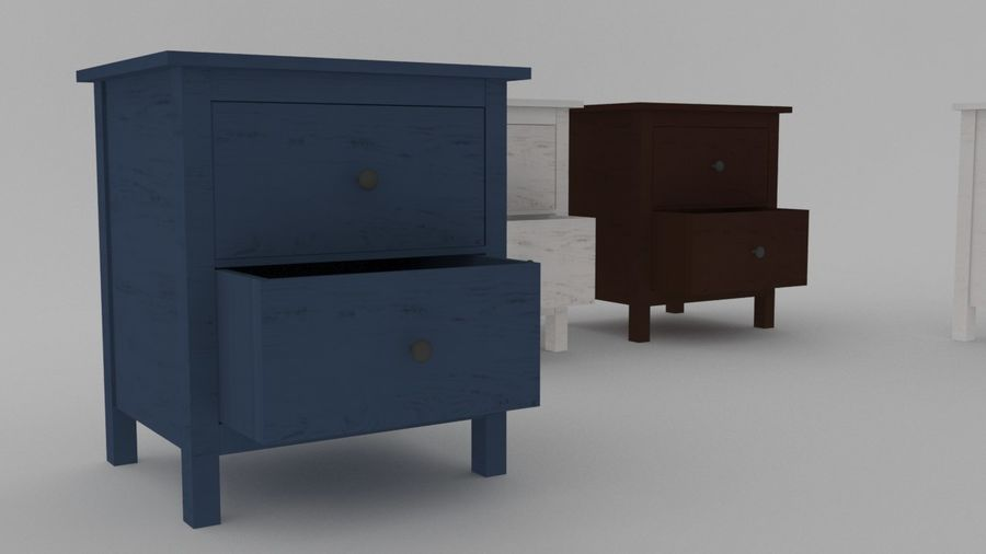 IKEA HEMNES 2 drawer chest royalty-free 3d model - Preview no. 3