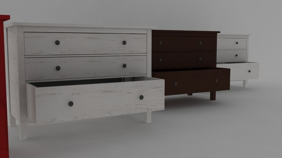 IKEA HEMNES 3抽屉柜 royalty-free 3d model - Preview no. 2