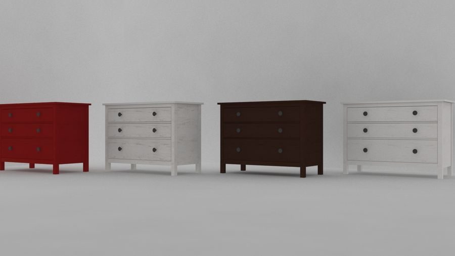 IKEA HEMNES 3抽屉柜 royalty-free 3d model - Preview no. 5