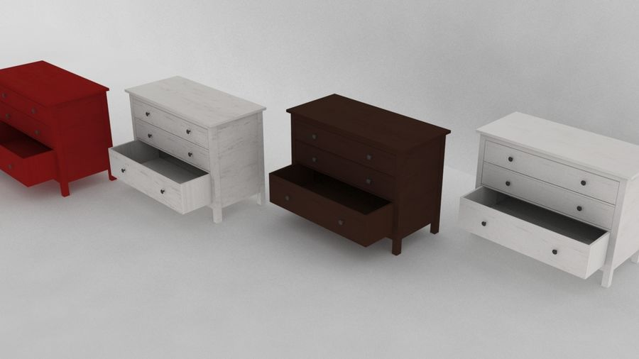 IKEA HEMNES 3抽屉柜 royalty-free 3d model - Preview no. 4