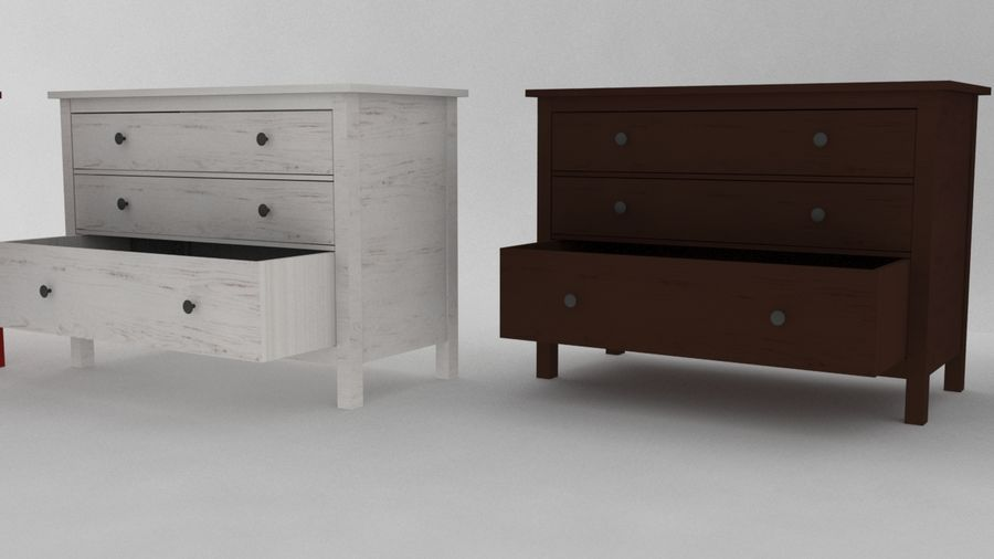 IKEA HEMNES 3抽屉柜 royalty-free 3d model - Preview no. 3