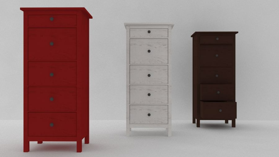 IKEA HEMNES 5 drawer chest royalty-free 3d model - Preview no. 1