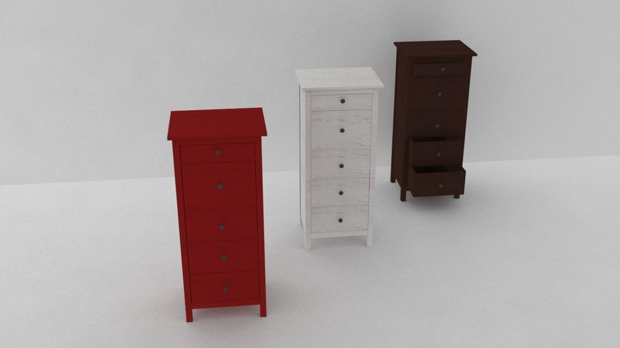 IKEA HEMNES 5 drawer chest royalty-free 3d model - Preview no. 5