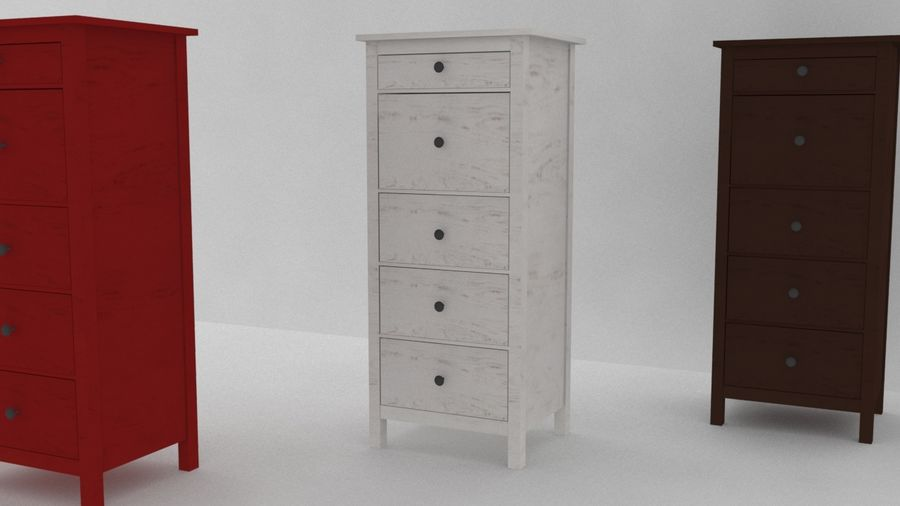 IKEA HEMNES 5 drawer chest royalty-free 3d model - Preview no. 2