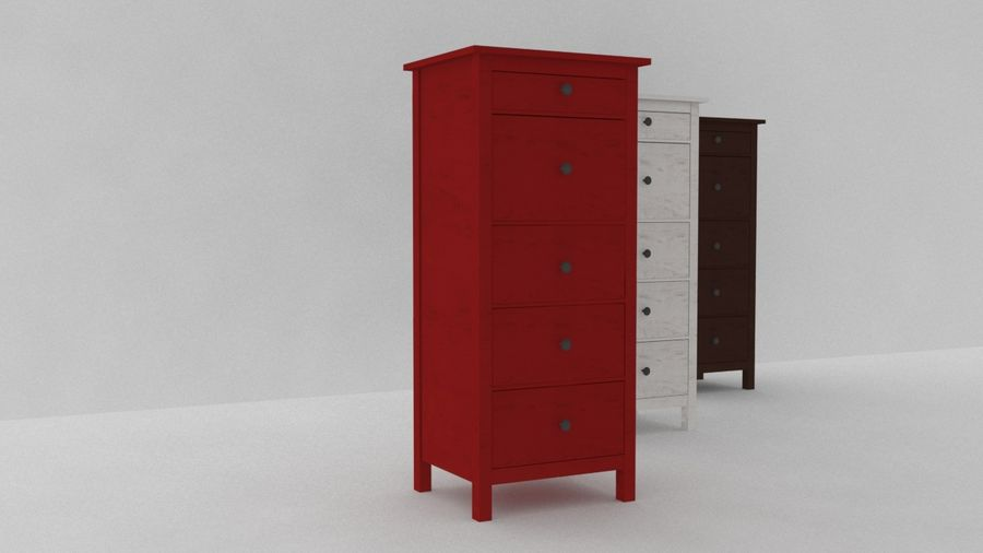 IKEA HEMNES 5 drawer chest royalty-free 3d model - Preview no. 4