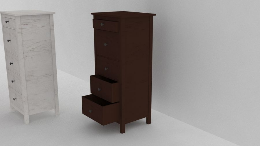 IKEA HEMNES 5 drawer chest royalty-free 3d model - Preview no. 3
