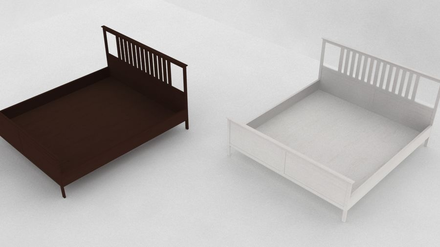 IKEA HEMNES Bed frame Double royalty-free 3d model - Preview no. 4