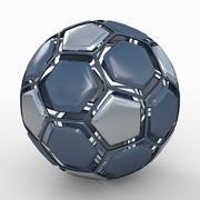 Футбольный мяч в разобранном виде синий черный 3d model