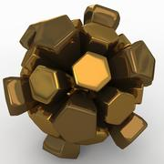 足球爆炸金色 3d model