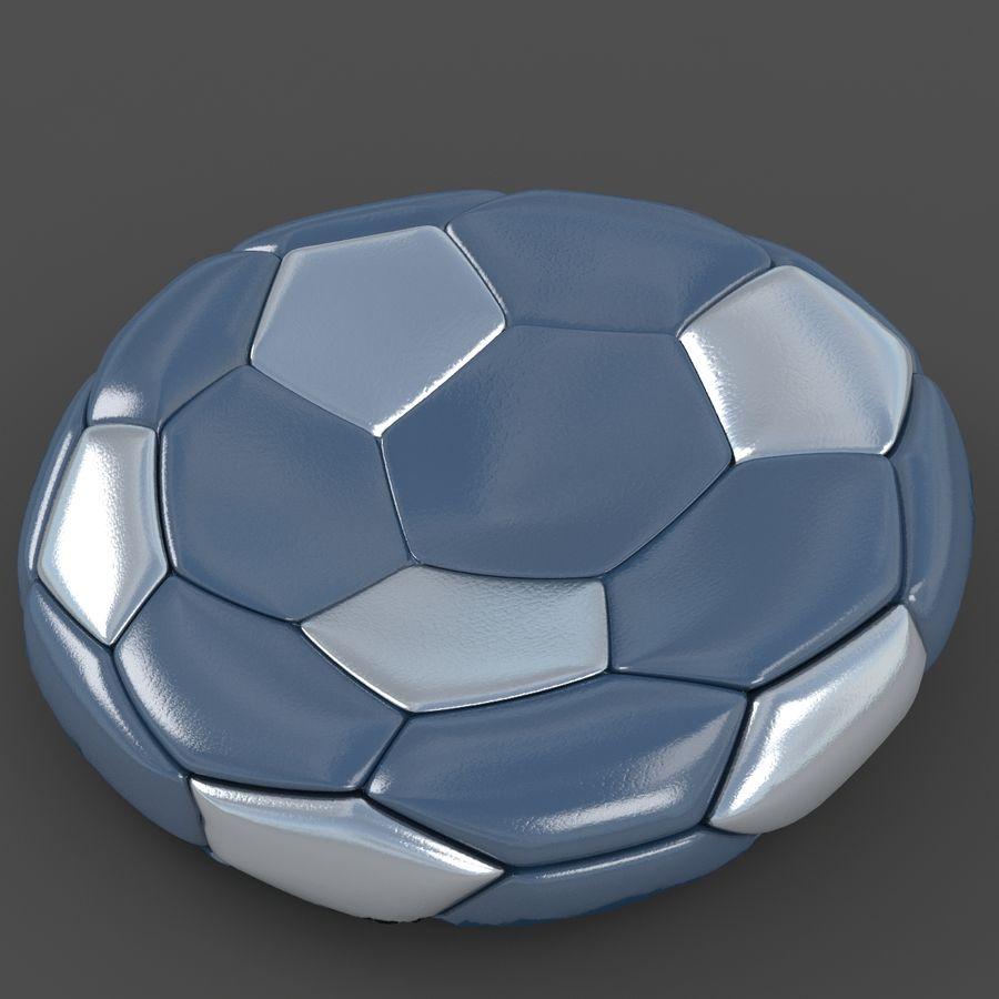 Soccerball plat bleu noir royalty-free 3d model - Preview no. 2
