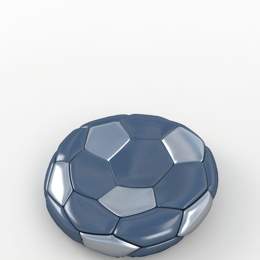 Soccerball plat bleu noir royalty-free 3d model - Preview no. 5