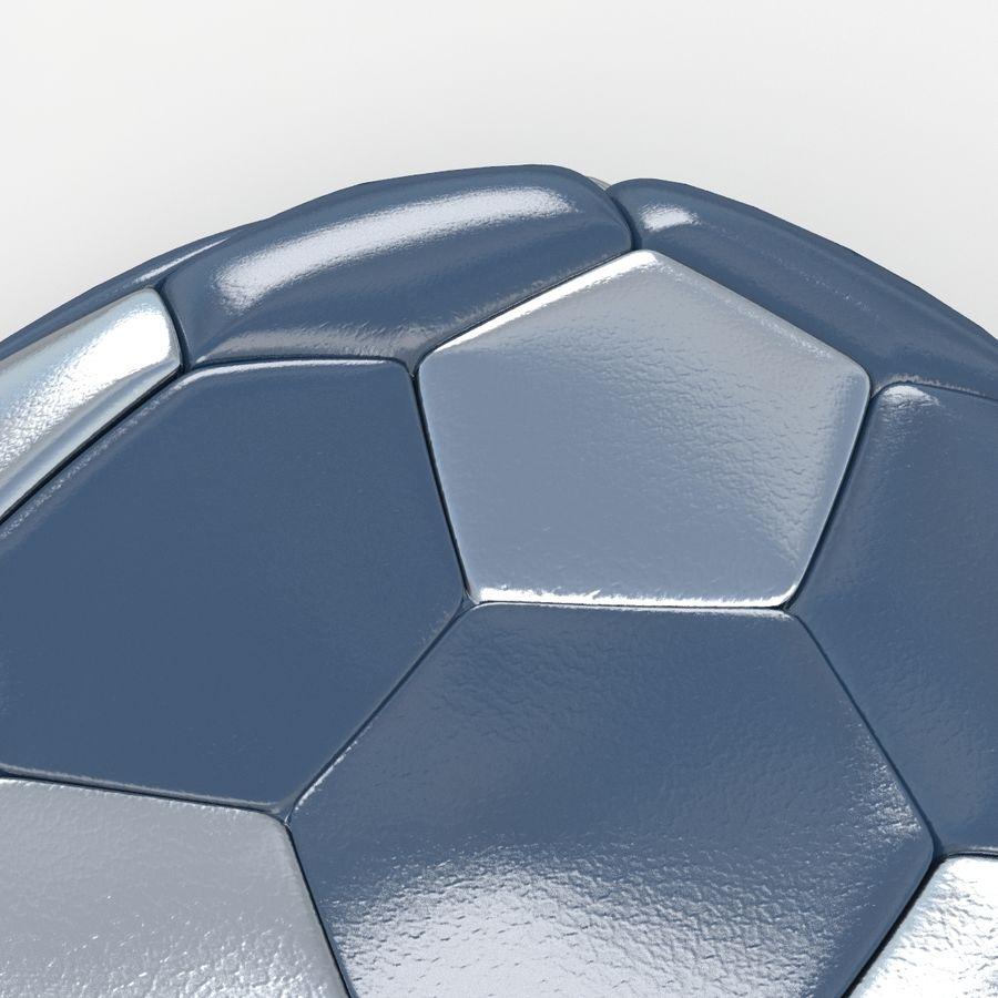 Soccerball plat bleu noir royalty-free 3d model - Preview no. 4
