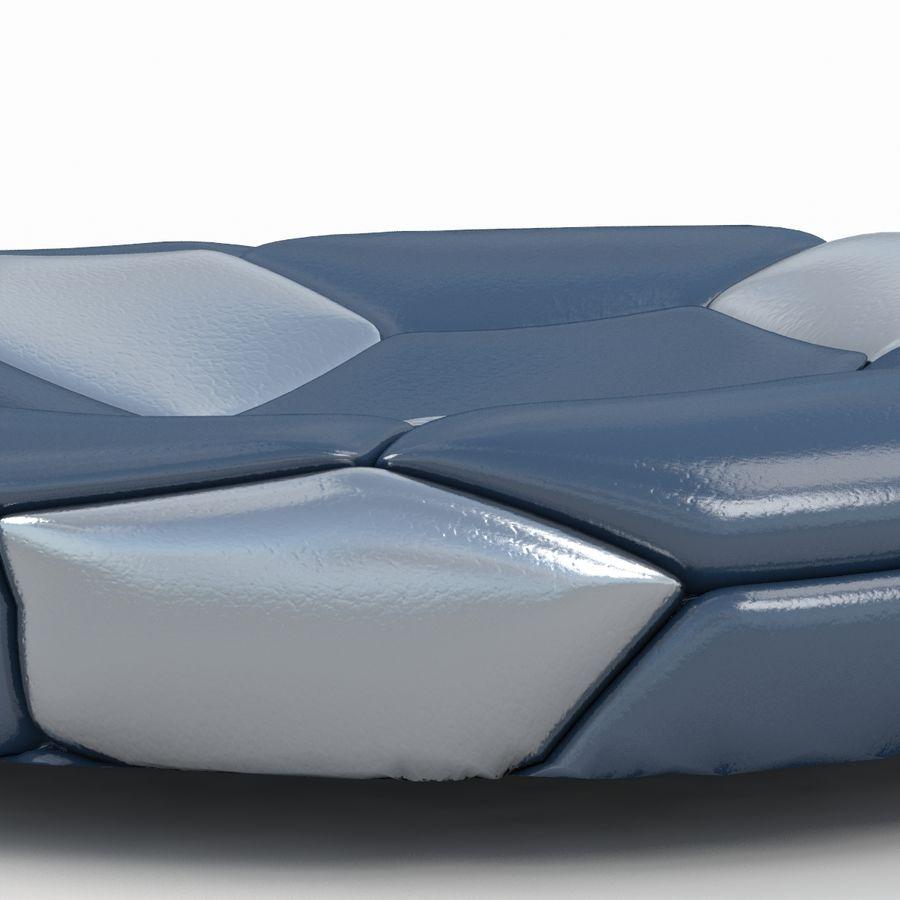 Soccerball plat bleu noir royalty-free 3d model - Preview no. 6