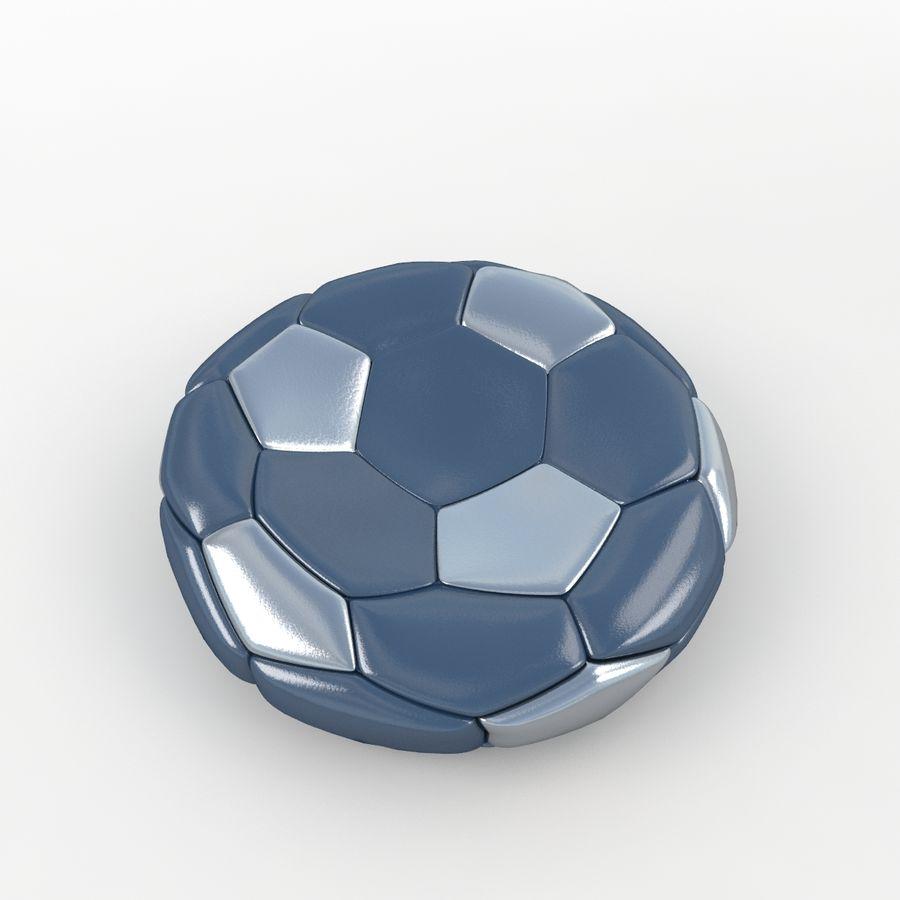 Soccerball plat bleu noir royalty-free 3d model - Preview no. 3