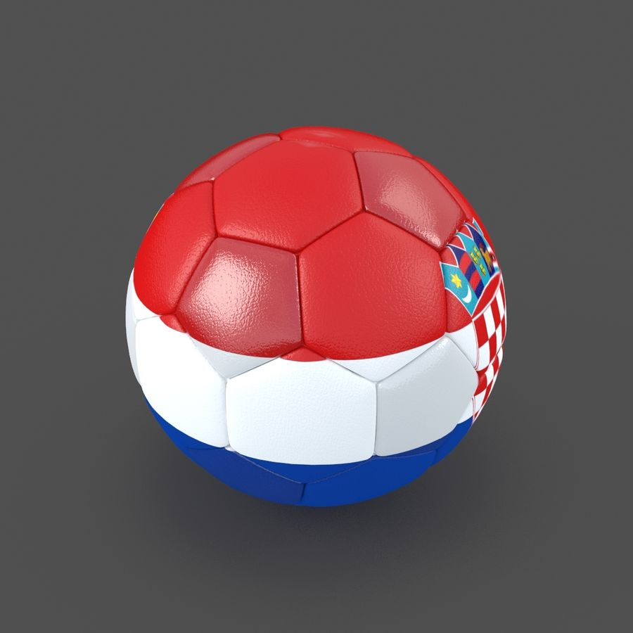 Soccerball Croatie royalty-free 3d model - Preview no. 2