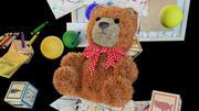 Zabawka Niedźwiedź i klocki Alfabet / kreskówka 3d model