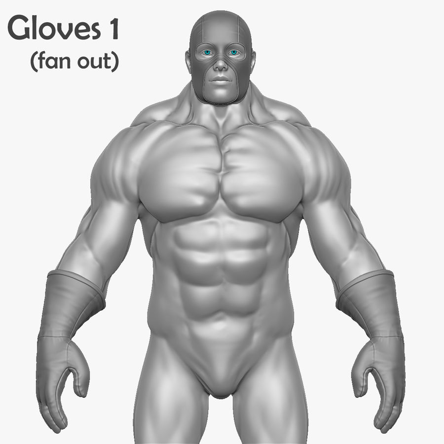 Superheld-Mann royalty-free 3d model - Preview no. 8