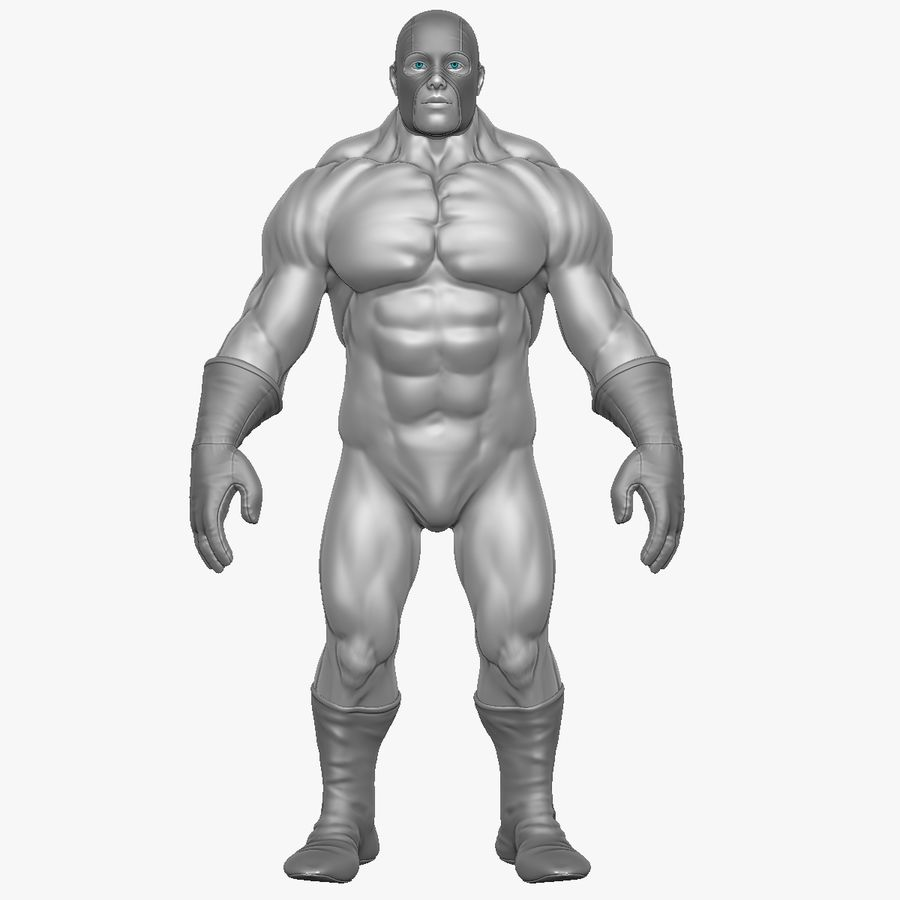 Superheld-Mann royalty-free 3d model - Preview no. 17