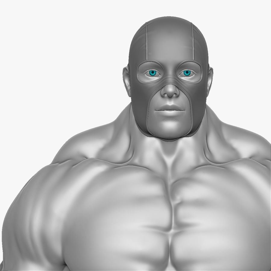 Superheld-Mann royalty-free 3d model - Preview no. 10