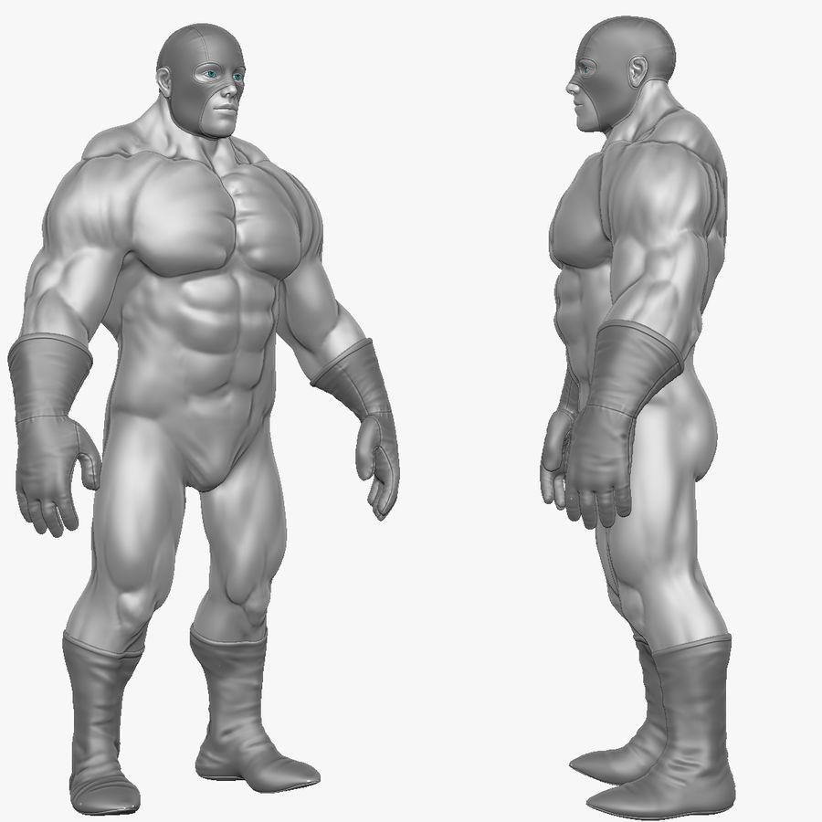 Superheld-Mann royalty-free 3d model - Preview no. 18
