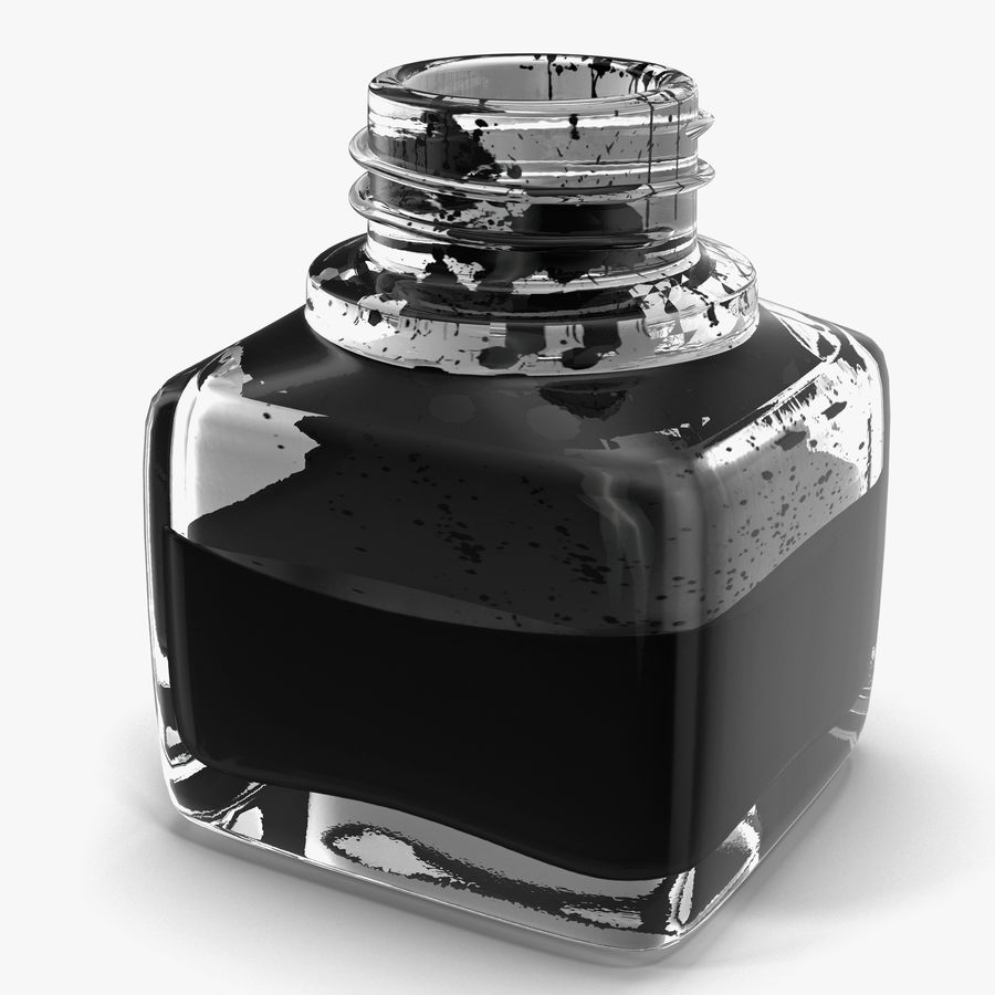 Ink Bottle and Quill royalty-free 3d model - Preview no. 13