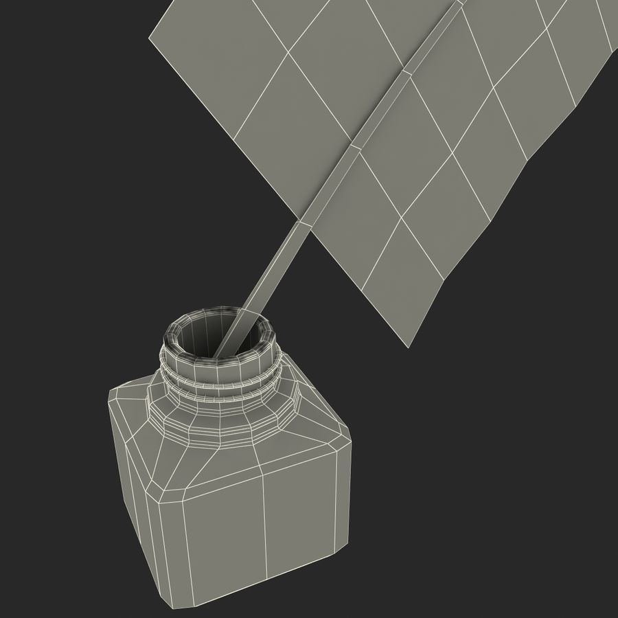 Ink Bottle and Quill royalty-free 3d model - Preview no. 18