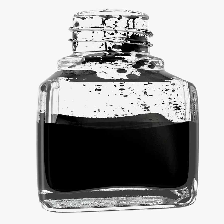 Ink Bottle and Quill royalty-free 3d model - Preview no. 14