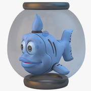 Poisson Cartoon Bleu 3d model