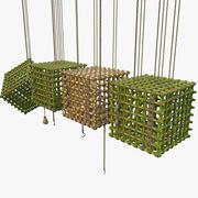 Zestaw bambusowej klatki w dżungli 3d model