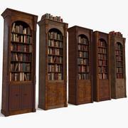 Luxurious Thin Wood Bookcase Set 3d model