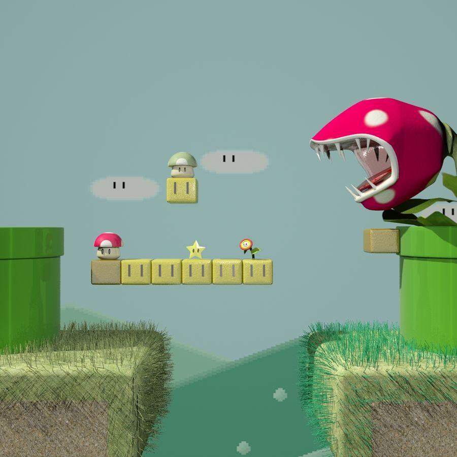Mario Set royalty-free 3d model - Preview no. 2