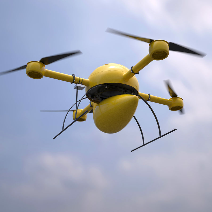 Delivery Drone royalty-free 3d model - Preview no. 3