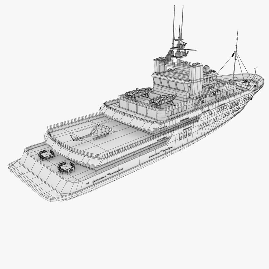 Derecktor 60M Yacht royalty-free 3d model - Preview no. 16
