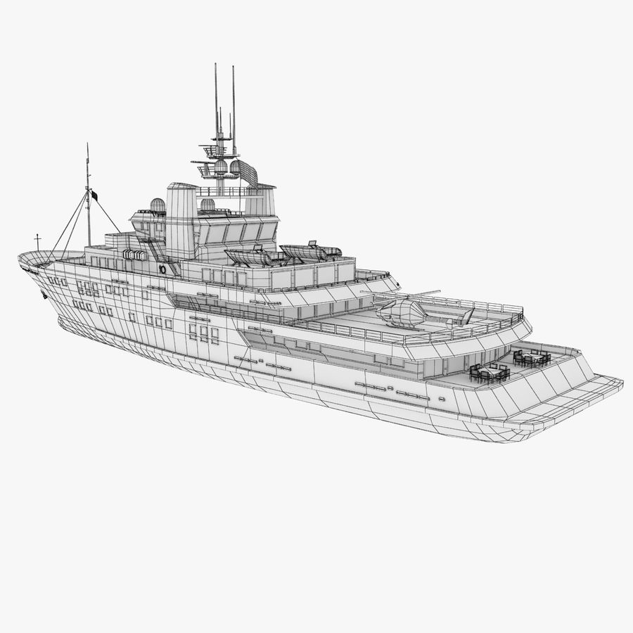 Derecktor 60M Yacht royalty-free 3d model - Preview no. 15