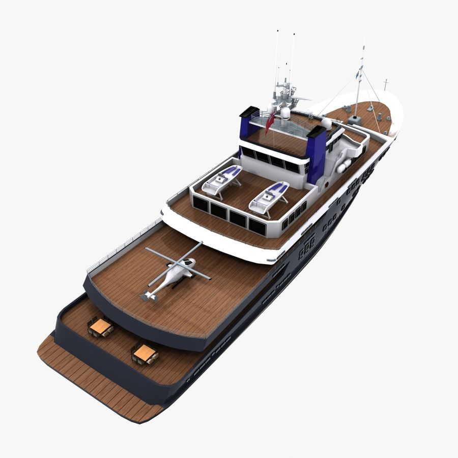 Derecktor 60M Yacht royalty-free 3d model - Preview no. 9