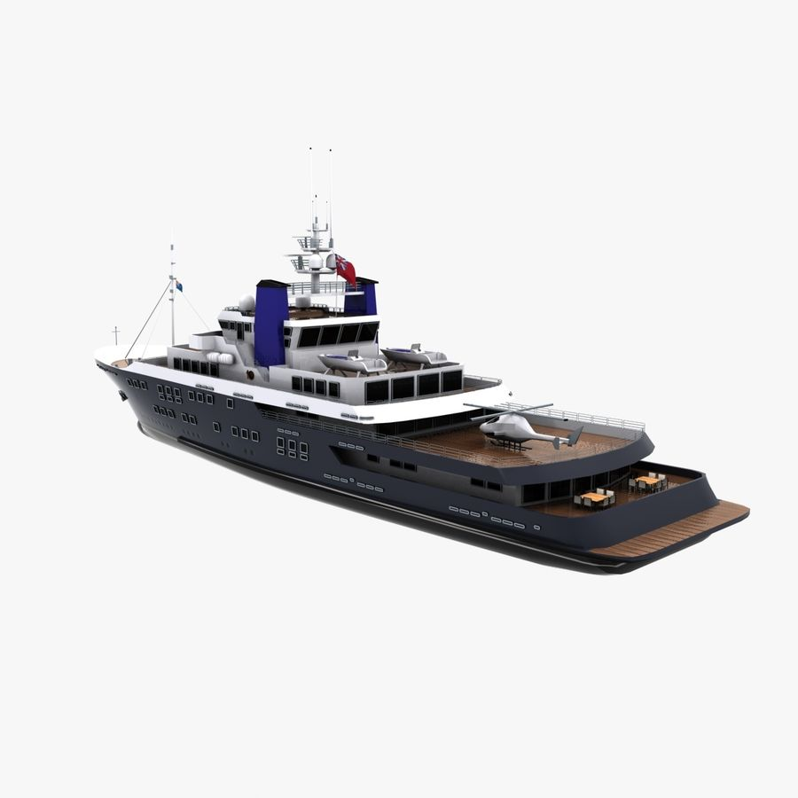 Derecktor 60M Yacht royalty-free 3d model - Preview no. 7
