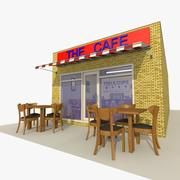 カフェレストランの外観とインテリア 3d model