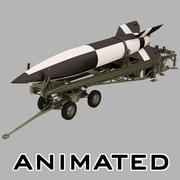 Ballistic Missile V-2 with Launcher 3d model