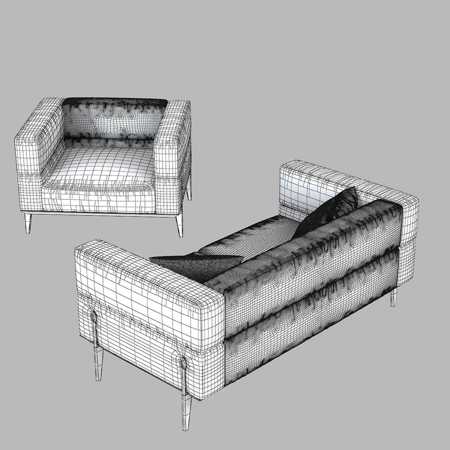 Giorgetti Ago Sofa & Chair royalty-free 3d model - Preview no. 6