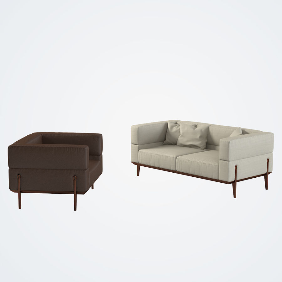 Giorgetti Ago Sofa & Chair royalty-free 3d model - Preview no. 2