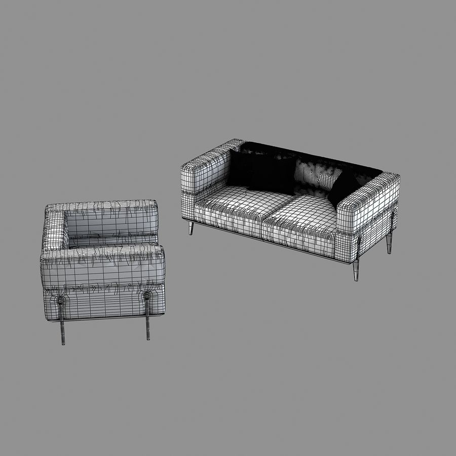 Giorgetti Ago Sofa & Chair royalty-free 3d model - Preview no. 7