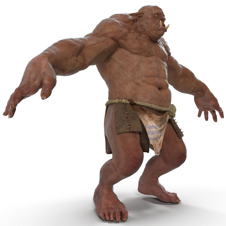 Jaskiniowy Troll royalty-free 3d model - Preview no. 9