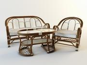 Stuhl Sofa Tisch Rotang 3d model