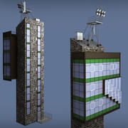 Industrial glass tower building 3d model