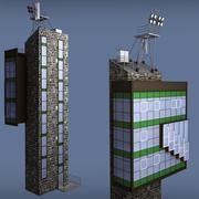 Bâtiment de tour de verre industriel 3d model