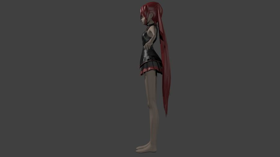 Anime Girl royalty-free 3d model - Preview no. 3
